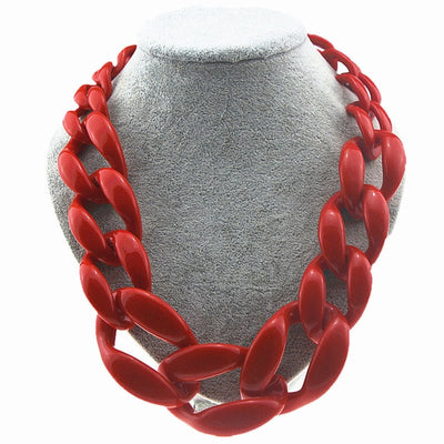 Colors Big Resin Chain Necklace Jewelry Women