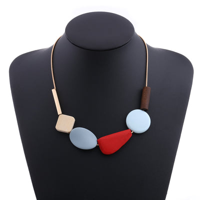 Colorful Resin Beads Statement Necklace Women's