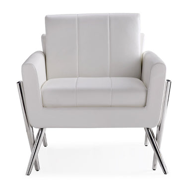 Morgan White Leatherette Chair