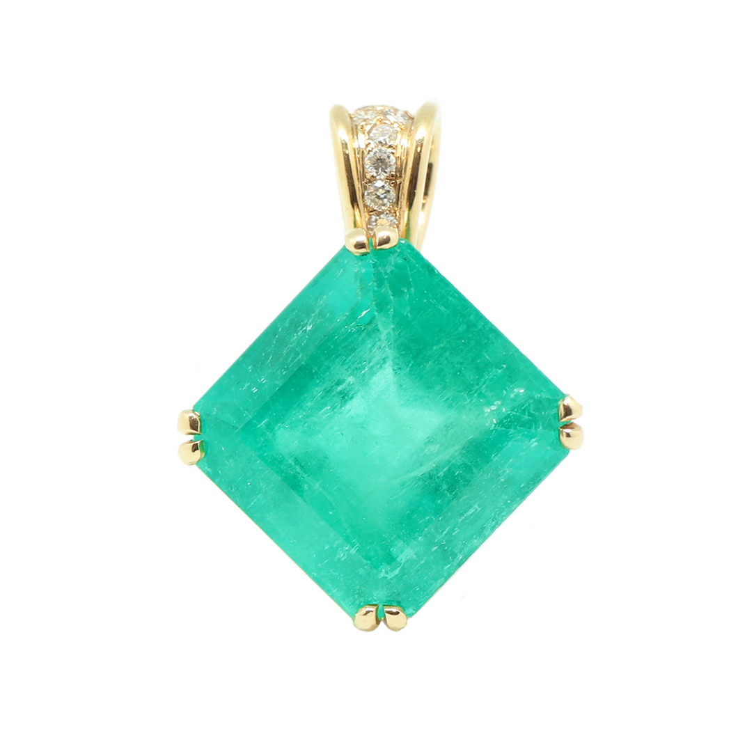 18K Gold Colombian Emerald Pendant