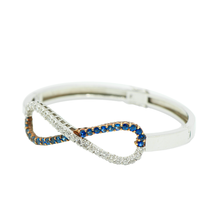 Load image into Gallery viewer, 18K Gold Infinity Diamond & Blue Sapphire Bangle