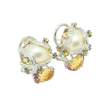 Load image into Gallery viewer, 18K Pink & Yellow Crystal with Round Brilliant Diamond Earstuds