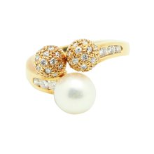 "Load image into Gallery viewer, 18K Gold Diamond Pearl Ring ""Mikomoto"" Inspired"