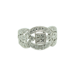 """Princess"" looking 18K White Gold Diamond Ring"