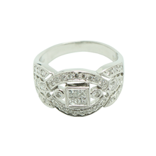 "Load image into Gallery viewer, ""Princess"" looking 18K White Gold Diamond Ring"