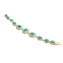 Load image into Gallery viewer, Brilliant Colombian Emerald Diamond Bracelet