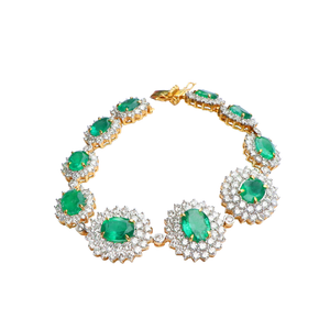 Brilliant Colombian Emerald Diamond Bracelet