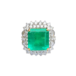 Squared Shaped 18K Gold Emerald & Diamond Ring