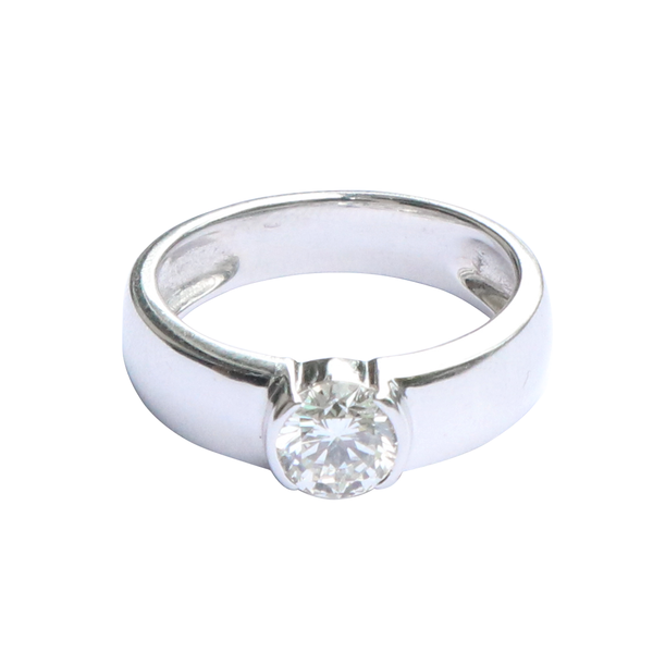 18K GIA Certified White Gold Diamond Ring