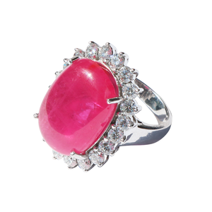 18K White Gold Red Ruby & Diamond Ring