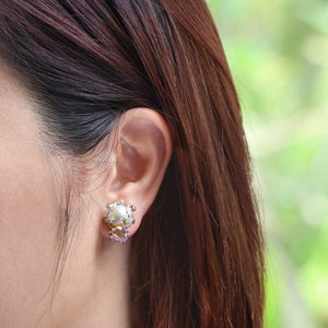 18K Pink & Yellow Crystal with Round Brilliant Diamond Earstuds