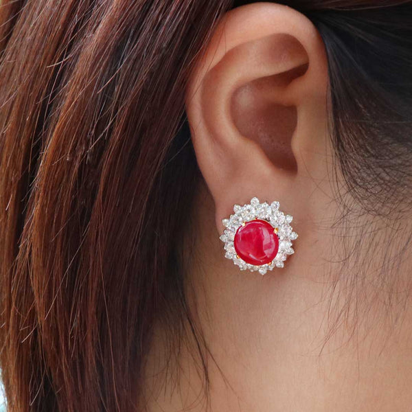 Double Red Ruby Diamond Earstuds