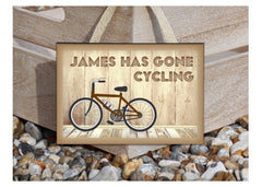 Gone Cycling Personalised Wood Sign at Honeymellow.com