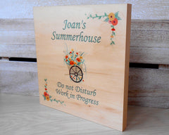 Maple Wood Personalised Summerhouse Sign at www.honeymellow.com