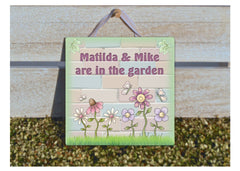 In the garden personalised sign at www.honeymellow.com