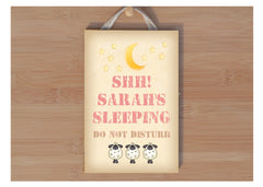 Sleeping Do Not Disturb.  Wood Sign. Personalise and Buy online at www.honeymellow.com