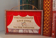 Wood Theatre Hanging Sign Personalise at Honeymellow Handmade