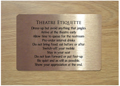 Theatre Rules: Add Text to Blank Metal Sign at Honeymellow