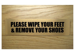 Wipe your feet and remove your shoes brushed gold vital sign: buy online at Honeymellow