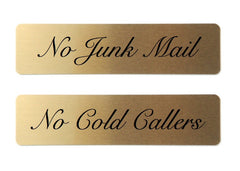 No Junk Mail Cold Callers Door Letterbox Sign: Buy Online at Honeymellow
