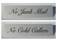 No Junk Mail or No Cold Callers Metal Aluminium Signs at Honeymellow