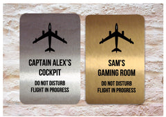 Aeroplane Silver, Gold or White Door Sign for Bedroom or Gaming Room Custom-made at www.honeymellow.com