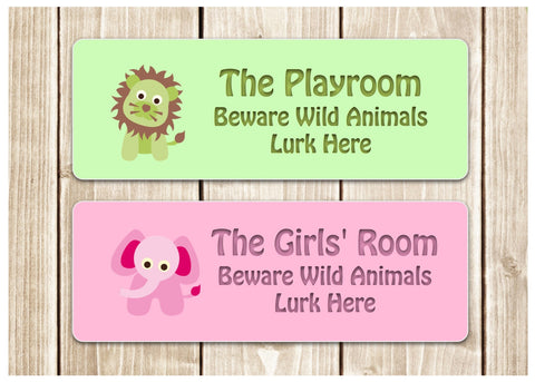 Personalised Animal Bedroom Door Sign: Small or Large Sizes