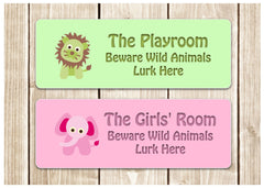 Wild Animal Children's Room Personalised Custom-Made Sign