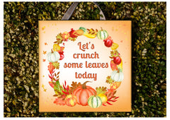 Add your own text to our Autumn Harvest Bespoke Square Metal or Wood Sign Handmade at www.honeymellow.com