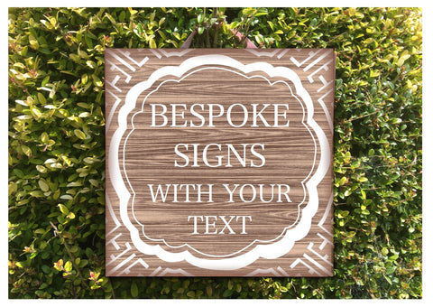 Add text to Aztec Walnut Wood Effect Sign in Wood or Metal