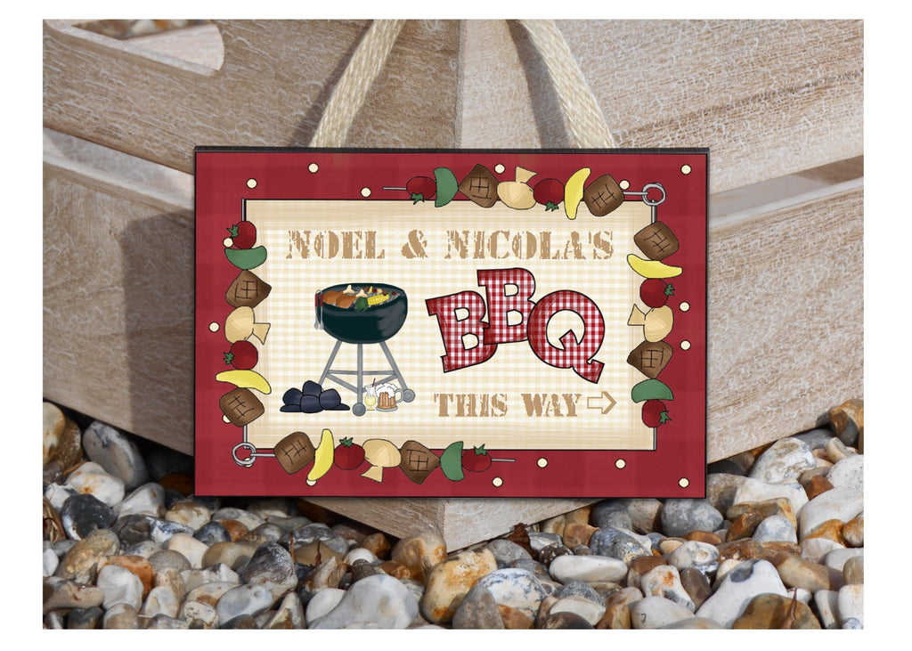 BBQ This Way Personalised Signs Buy Online from www.honeymellow.com