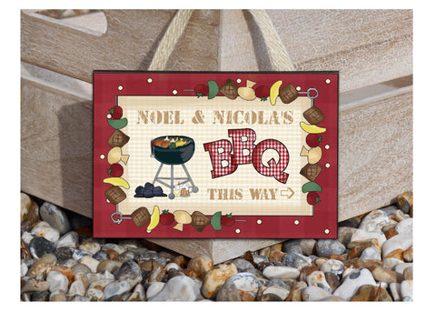 BBQ THIS WAY Personalised sign