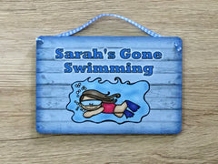 Gone Swimming Hanging Sign