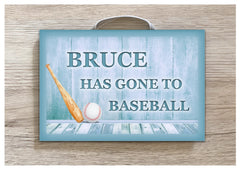 Gone to Baseball Metal or Wooden Personalised Sign