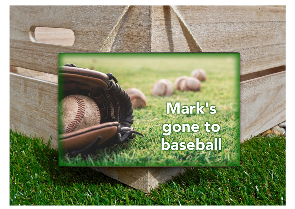 Gone to baseball personalised hanging sign at www.honeymellow.com