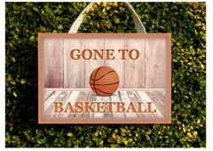 Gone to basketball wood or metal personalised hanging sign.  Handmade at www.honeymellow.com