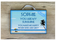 Blue Beach Signs: Add Your Own Text to our Wood or Metal Plaque