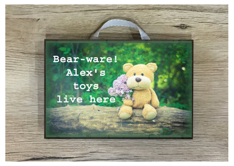 Add Your Text to Bear Sign: Custom-Made Personalised Wood or Metal Plaque