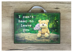 Bear room, door or wall personalised wood sign.  Handmade with your text at www.honeymellow.com