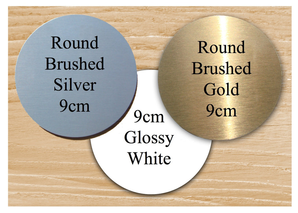 Personalise Round Brushed Silver Signs Custom Made at Honeymellow