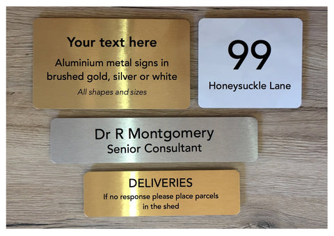 Add Your Own Text Blank Metal Signs in Silver, Gold & White: Small and Large Sizes