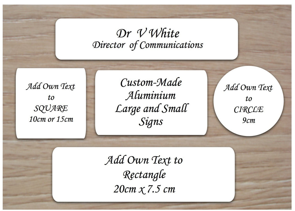 White Blank signs to personalise.  Add your text to metal plaques at www.honeymellow.com