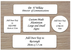 White Signs: Add Your Own Text Blank Metal Plaques - Small and Large Sign Sizes