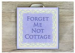 Add text to square wood blue lace sign. Custom made at www.honeymellow.com