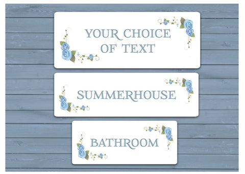 BLUE ROSEBUD Room Signs OR Add Your Own Text