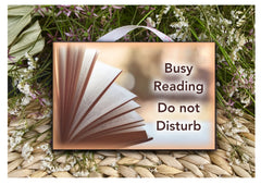 Custom made reading sign made of wood or metal with your own text at www.honeymellow.com
