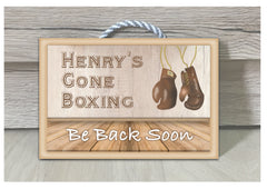 Gone Boxing Metal or Wooden Personalised Room Sign