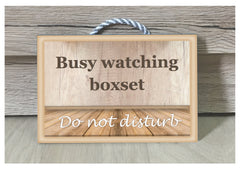 Busy watching boxsets TV metal or wood handmade personalised sign at www.honeymellow.com