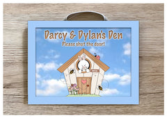 Bunny Heaven Personalised Metal Rabbit Hutch Sign