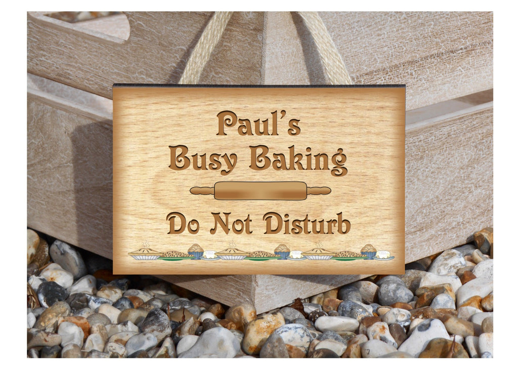 Busy Baking Personalised Custom Made Wood or Metal Sign.  Only at Honeymellow